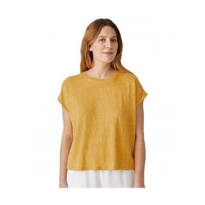 Eileen Fisher アイリーンフィッシャー レディース 女性用 ファッション Tシャツ Crew Neck Boxy Top in Organic Linen Jersey - Marigold