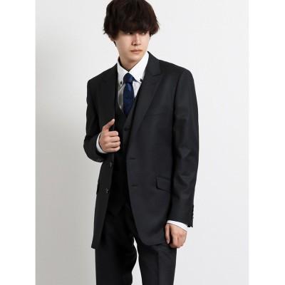 【タカキュー】 シェラック/SHELLAC ストレッチ スリムフィット3ピーススーツ チェックグレー メンズ グレー M TAKA-Q