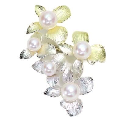 ギフト応援プライス あこや真珠(和珠) 8.0ミリ・6.0ミリ 美しきグラデーション 最新メッキ  SV950 ペントップ兼ブローチ  受注品/クーポン不可/母の日