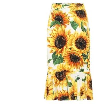 ドルチェ&ガッバーナ Dolce & Gabbana レディース ひざ丈スカート スカート Sunflower silk-charmeuse midi skirt Girasoli Fdo Panna