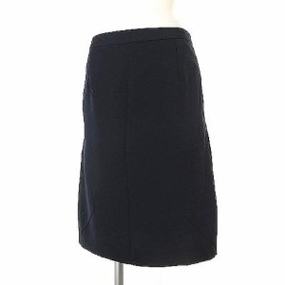 【中古】未使用品 ドレステリア DRESSTERIOR タグ付き スカート 膝丈 サイド プリーツ 切替 無地 ネイビー 38 ボトムス レディース