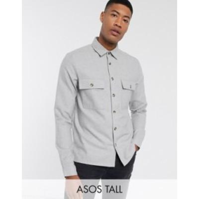エイソス メンズ シャツ トップス ASOS DESIGN Tall wool mix textured overshirt in gray Gray
