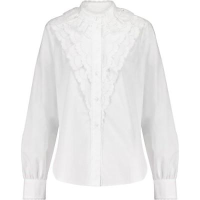 クロエ See By Chloe レディース ブラウス・シャツ トップス broderie anglaise cotton blouse White