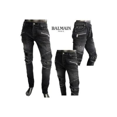 バルマン BALMAIN メンズ パンツ ボトムス デニム デストロイクラッシュ・ユーズド加工当て布付バイカーパンツ ブラック TH15419 Z064 0PA (R205200) 02S