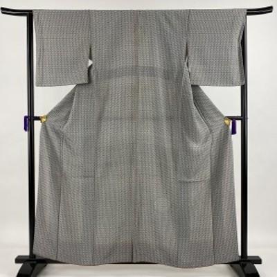 小紋 秀品 幾何学 灰色 袷 身丈160.5cm 裄丈64cm M 正絹 中古