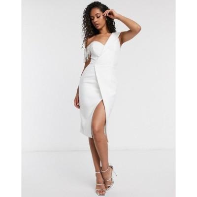 ラビッシュアリス レディース ワンピース トップス Lavish Alice one shoulder rhinestone trim wrap midi dress in white White