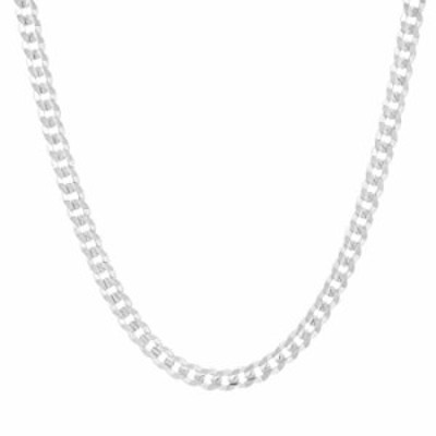 Men's 4mm Solid Sterling Silver .925 Curb Link Chain Necklace, Made in Italy (20)
