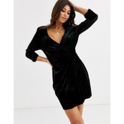 エイソス レディース ワンピース トップス ASOS DESIGN velvet mini wrap tux dress Black