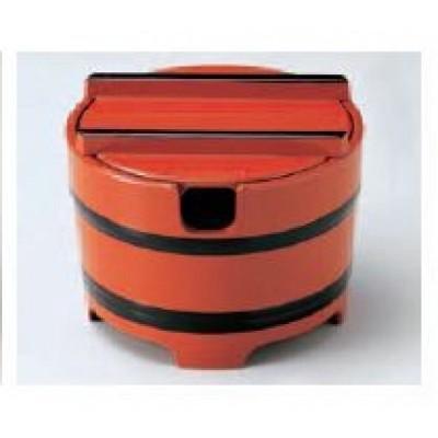 桶型ガリ入れ 朱帯黒(切込入) 【寿し用品・和食】