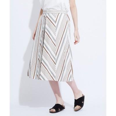 collex / コレックス 綿麻ストライプ切替スカート