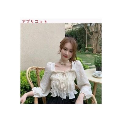 【送料無料】秋 気質 スクエアネック パフ デザイン 感 レースアップシャツ 単一色   364331_A63450-5814254