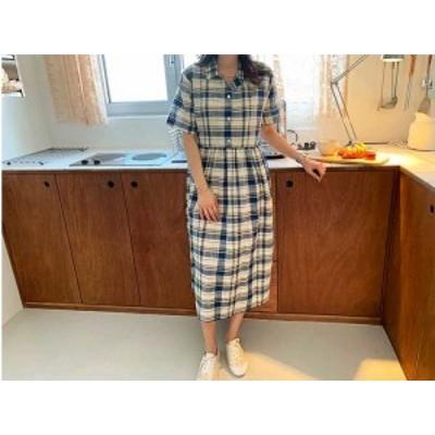 [月末プチSALE] 予約商品 大きいサイズ レディース シャツワンピース チェックシャツ 半袖ワンピース オーバーサイズ 韓国ファッション