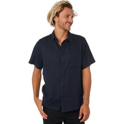 ミスターシンプル Mr simple メンズ 半袖シャツ トップス linen ss shirt Navy