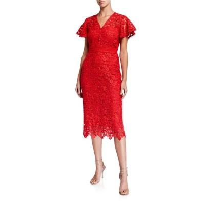 ショシャーナ レディース ワンピース トップス Talor Imperial Lace Short-Sleeve Midi Dress