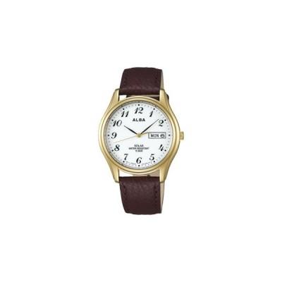 ALBA アルバ ソーラー 腕時計 革バンド カレンダー付き AEFD544 メンズ 男性用 名入れ刻印対応、有料