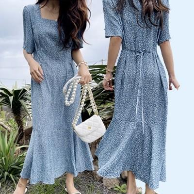 [NANING9] (ナンニング)オズエン フラワー スクエアネック ワンピース韓国のファッションN