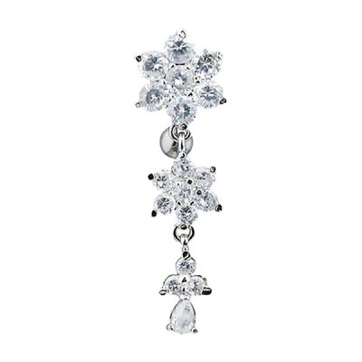 Pierced Owl Round CZ Crystal Flower Top Down Dangling Belly Button Rin