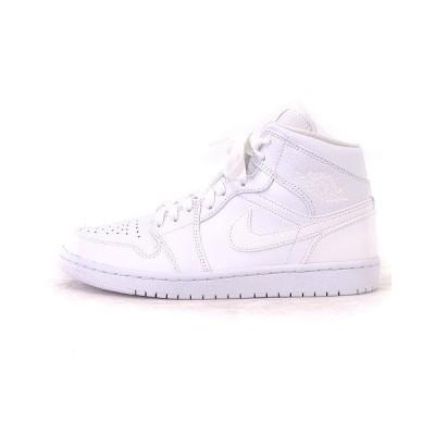 【中古】ナイキ NIKE 美品 20年 AIR JORDAN 1 MID Triple White スニーカー ハイカット ロゴ 554724-130 白 ホワイト 26 靴 ■SM メンズ 【ベクトル 古着】
