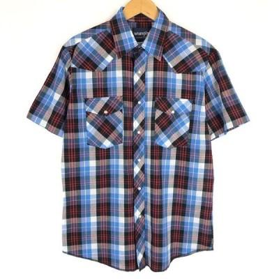 【古着】 Wrangler ラングラー ウエスタンシャツ チェック柄 半袖 80-90年代 ヴィンテージ ブルー系 メンズM