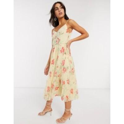 エイソス レディース ワンピース トップス ASOS DESIGN pleated cami midi dress with drawstring waist in floral print Yellow based f