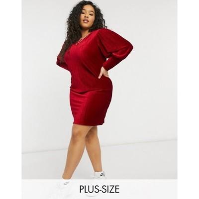 シンプリー ビー レディース ワンピース トップス Simply Be velour shift dress with balloon sleeve detail in mulberry