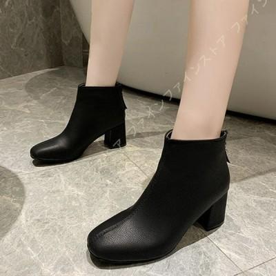 スクエアトゥ ショートブーツ 黒 レディース ブーツ ブーティー 太ヒール チャンキーヒール ワイズ 3E 歩きやすい 靴 ハイヒール アンクルブーツ 大きいサイズ