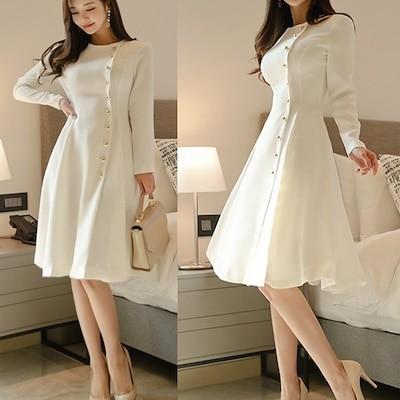 韓国ファッション上品長袖ホワイトワンピースお呼ばれパーティー ドレス通勤