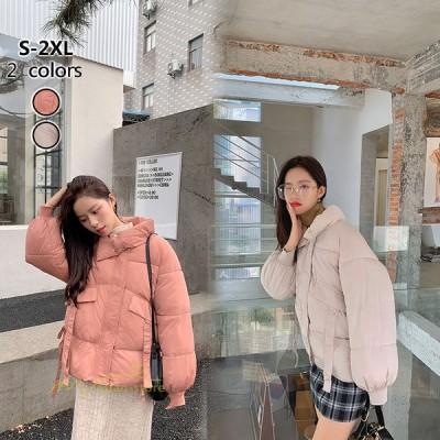ダウンジャケット レディース ブルゾン ライトダウン ライトアウター 立ち襟 暖かい 防風 防寒 オシャレ 韓国ファッション きれいめ ゆったり コート ショート丈