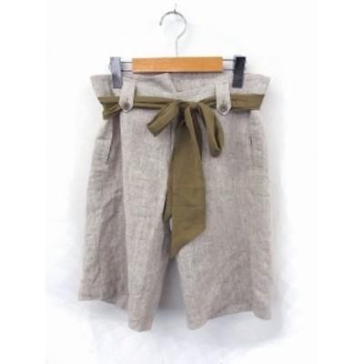 【中古】ケティ KETTY パンツ ショート ハーフ リボン ジップ 2 ブラウン 茶 /FT36 レディース