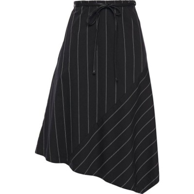 ダナ キャラン ニューヨーク DKNY レディース スカート asymmetric pinstriped cotton-blend twill skirt Black