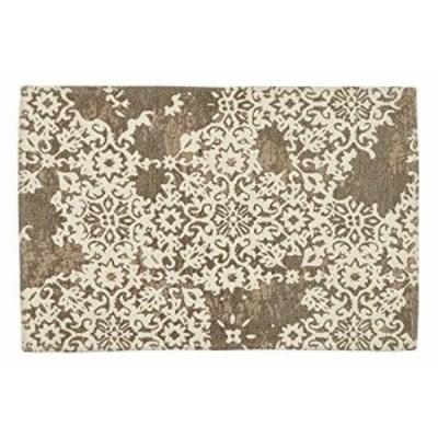 萩原 玄関マット ブラウン 約60x90cm シェニールマット 洗える 滑りにくい加工 「バール」 270071310