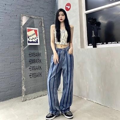 2021ファッション新品の高品質レトロな縦縞の薄いタイプはゆったりとしたワイドな脚を見せレギンスのジーンズの長ズボンを調節できます