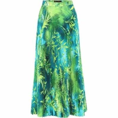 ヴェルサーチ Versace レディース ひざ丈スカート スカート Jungle-print plisse midi skirt Verde/Stampa