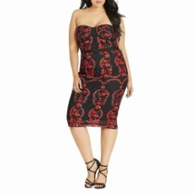 City Chic シティシック ファッション ドレス CITY CHIC NEW Red Black Womens Size XS Embroidered Sheath Dress