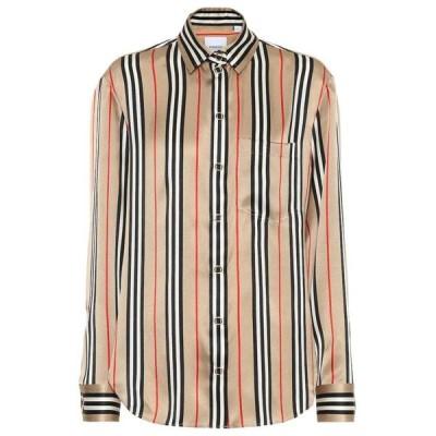 バーバリー Burberry レディース ブラウス・シャツ トップス icon stripe silk-satin shirt archive beige ip s