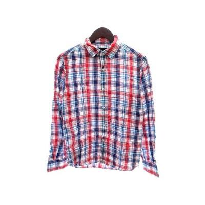 【中古】ブルーワーク BLUE WORK シャツ チェック 麻 リネン 長袖 0 赤 レッド 青 ブルー /AU メンズ 【ベクトル 古着】
