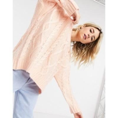 ベルシュカ レディース ニット・セーター アウター Bershka oversized cableknit sweater in peach