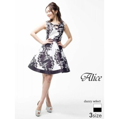 ドレス キャバドレス ワンピース 大きいサイズ Alice S M L サイズ モノトーンボタニカルプリントフレアミニキャバドレス ワンピース