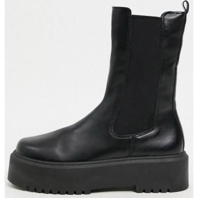 エイソス ASOS DESIGN レディース ブーツ チェルシーブーツ シューズ・靴 Alana chunky chelsea boots in black ブラック