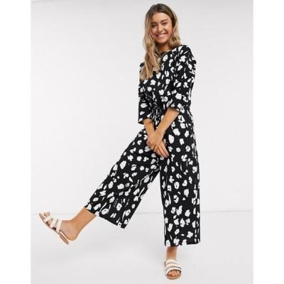 エイソス レディース ワンピース トップス ASOS DESIGN lounge tie waist casual jumpsuit in mono animal print