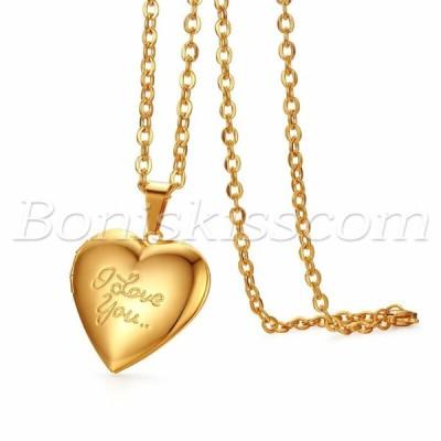 """ネックレス メンズ レディース  Gold Men Women """"Love You"""" Openable Photo Heart Pendant Chain Necklace Free Engraving"""