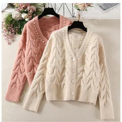 レディース カーディガン 春 ニットコート ざっくりニット ケーブル編み セーター ショート丈 シンプル 復古 可愛い 甘い 韓国風 上品 ファッション