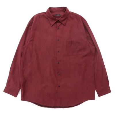 フェイクスウェードシャツ 長袖 ワインレッド サイズ表記:XL
