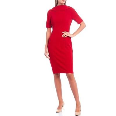 アドリアナ パペル レディース ワンピース トップス V-Back Foldover Collar Short Sleeve Sheath Dress Red