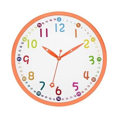 限定価格Lumuasky Kids Wall Clock, Silent Non Ticking - 12 Inch Decorative Colorful Battery Operated Round Easy to Read Clock for Classro