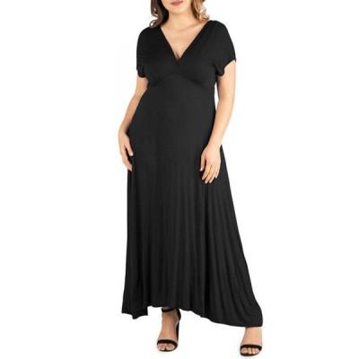 24セブンコンフォート レディース ワンピース トップス Plus Size Empire Waist V-Neck Maxi Dress