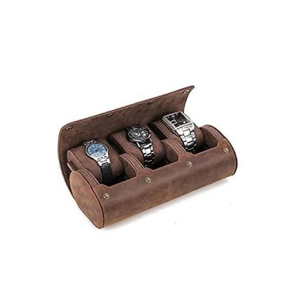 Genuine Leather Ellipse Watch Roll Travel Case, Hiram Leather 3-Watches Rol
