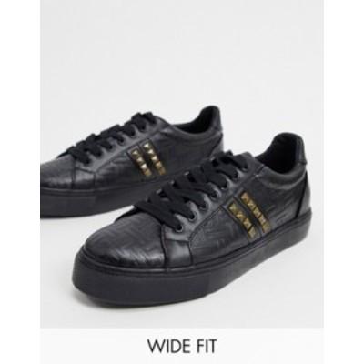 エイソス メンズ スニーカー シューズ ASOS DESIGN Wide Fit sneakers in black emboss with studs Black