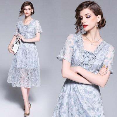 パーティードレス結婚式ミモレ丈花柄刺繍 ワンピースドレス二次会 披露宴パーティー Vネック結婚式ドレスお呼ばれドレスゲストドレス 袖あり