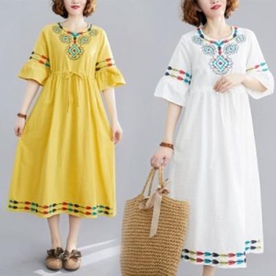 ロングワンピース ゆったり 着痩せ 半袖 刺繍 チュニックワンピース レディース 春 夏 体型カバー 大きいサイズ 30代 40代 50代